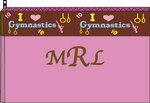 Med. Cosmetic Bag-Pink w/Brown Gym Ribbon