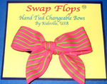Pink & Cit. Green Stripe Flip Flop Ribbon Bows (Pair)