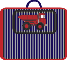 MADE IN USA -STRIPED DENIM APPLIQUED DUMP TRUCK NAP MAT W/ W-PILLOW & BLANKET- OUTSIDE ZIPPERED POCKET.