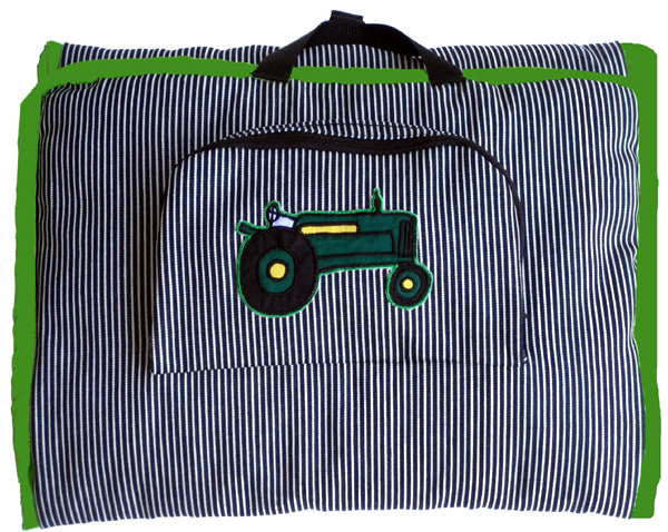 MADE IN USA -STRIPED DENIM APPLIQUED GREEN TRACTOR NAP MAT W-PILLOW & BLANKET-OUTSIDE POCKET. - Click Image to Close